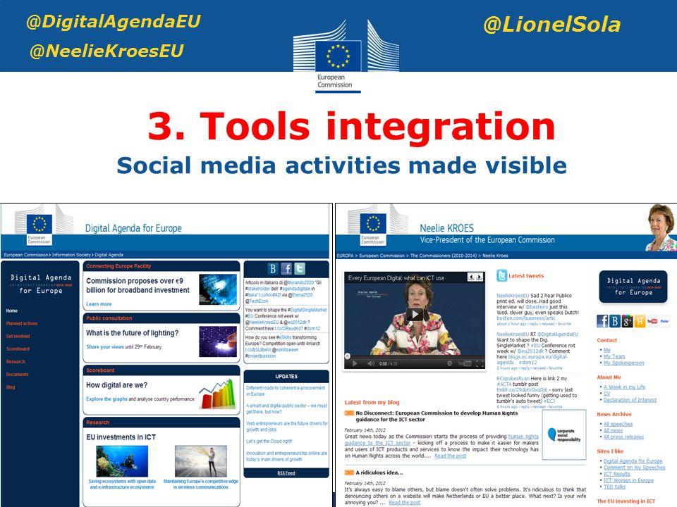 3. Tools integration @DigitalAgendaEU @NeelieKroesEU @LionelSola Social media activities made visible