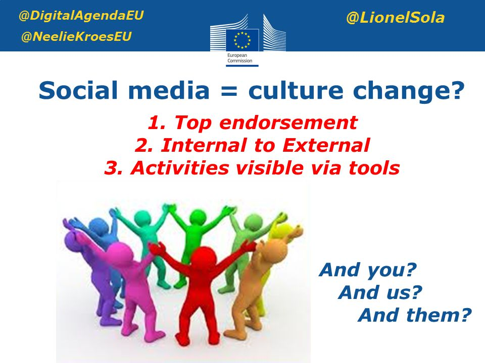 Social media = culture change. @DigitalAgendaEU @NeelieKroesEU @LionelSola 1.