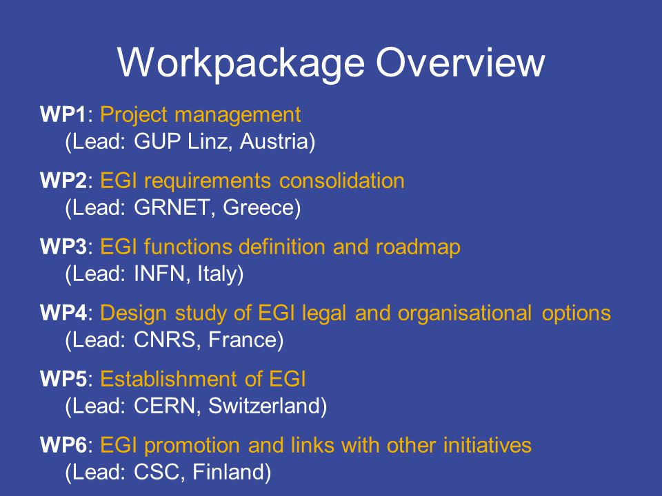 EGI Design Studycontact@eu-egi.org Workpackage Overview WP1: Project management (Lead: GUP Linz, Austria) WP2: EGI requirements consolidation (Lead: GRNET, Greece) WP3: EGI functions definition and roadmap (Lead: INFN, Italy) WP4: Design study of EGI legal and organisational options (Lead: CNRS, France) WP5: Establishment of EGI (Lead: CERN, Switzerland) WP6: EGI promotion and links with other initiatives (Lead: CSC, Finland)