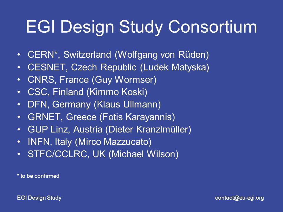 EGI Design Studycontact@eu-egi.org EGI Design Study Consortium CERN*, Switzerland (Wolfgang von Rüden) CESNET, Czech Republic (Ludek Matyska) CNRS, France (Guy Wormser) CSC, Finland (Kimmo Koski) DFN, Germany (Klaus Ullmann) GRNET, Greece (Fotis Karayannis) GUP Linz, Austria (Dieter Kranzlmüller) INFN, Italy (Mirco Mazzucato) STFC/CCLRC, UK (Michael Wilson) * to be confirmed