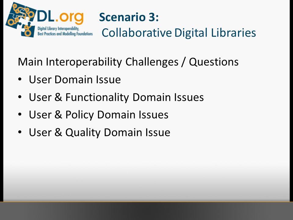 Scenario 3: Collaborative Digital Libraries Main Interoperability Challenges / Questions User Domain Issue User & Functionality Domain Issues User & Policy Domain Issues User & Quality Domain Issue