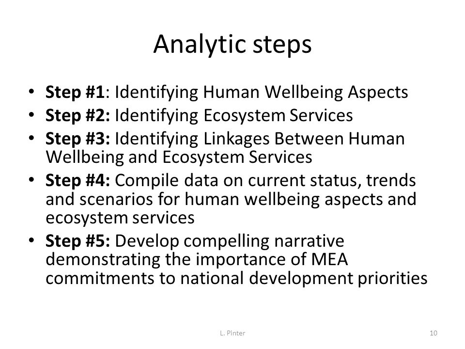 Analytic steps Step #1: Identifying Human Wellbeing Aspects Step #2: Identifying Ecosystem Services Step #3: Identifying Linkages Between Human Wellbe