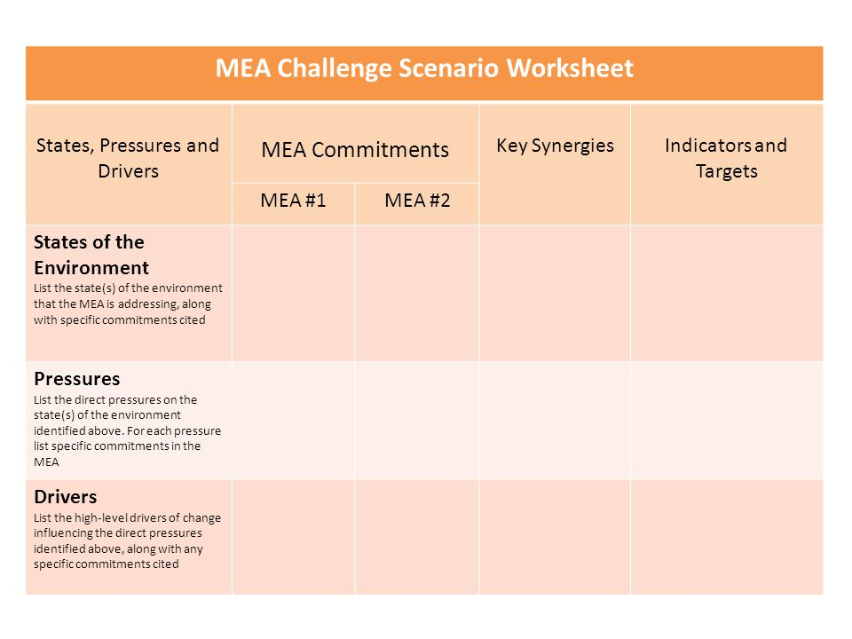 MEA Challenge Scenario Worksheet States, Pressures and Drivers MEA Commitments Key SynergiesIndicators and Targets MEA #1MEA #2 States of the Environm