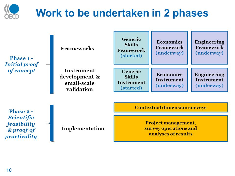 10 Work to be undertaken in 2 phases Generic Skills Framework (started) Economics Framework (underway) Engineering Framework (underway) Project management, survey operations and analyses of results Contextual dimension surveys Frameworks Instrument development & small-scale validation Generic Skills Instrument (started) Economics Instrument (underway) Engineering Instrument (underway) Implementation Phase 1 - Initial proof of concept Phase 2 - Scientific feasibility & proof of practicality