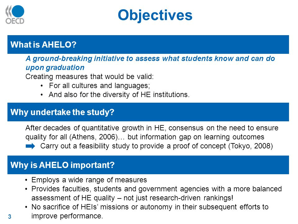 3 Objectives What is AHELO. Why undertake the study.