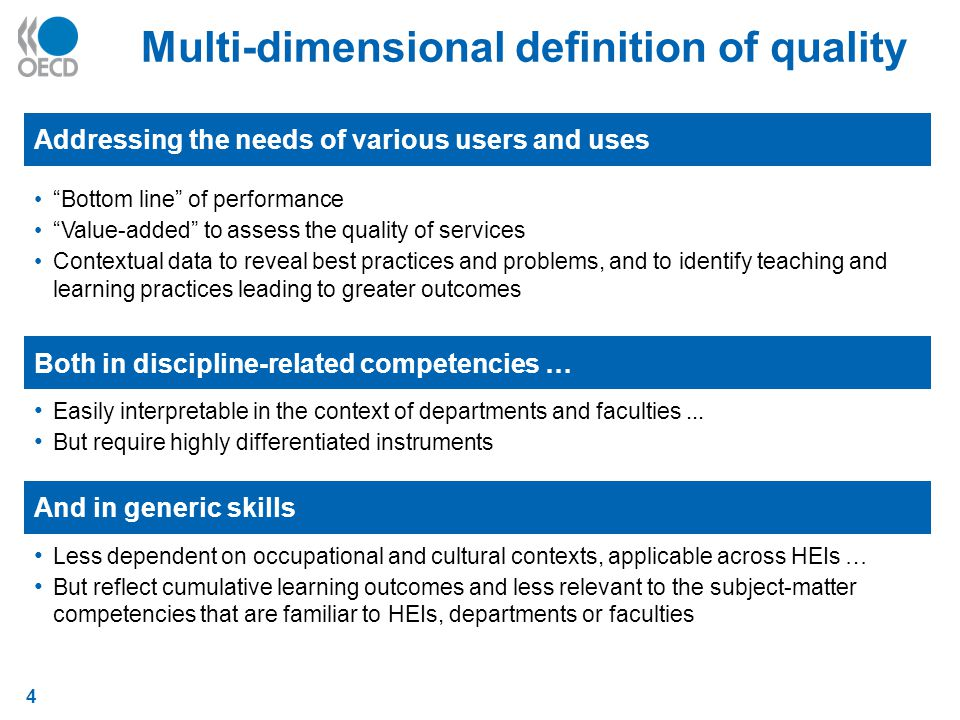 4 Multi-dimensional definition of quality Addressing the needs of various users and uses Bottom line of performance Value-added to assess the quality of services Contextual data to reveal best practices and problems, and to identify teaching and learning practices leading to greater outcomes Both in discipline-related competencies … Easily interpretable in the context of departments and faculties...