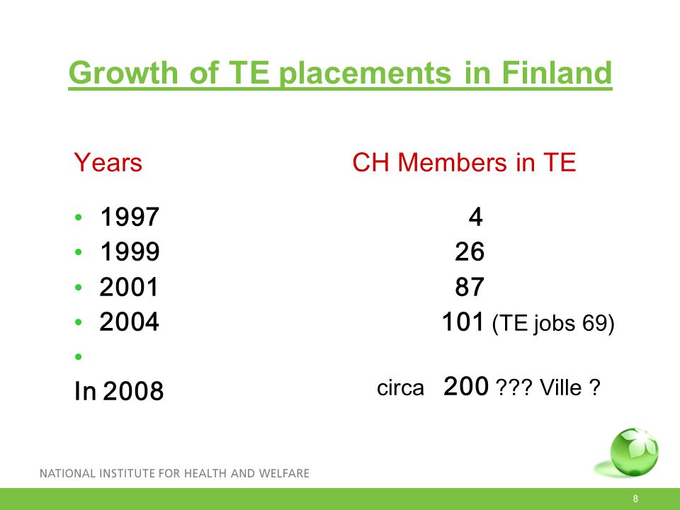 8 Growth of TE placements in Finland Years 1997 1999 2001 2004 In 2008 CH Members in TE 4 26 87 101 (TE jobs 69) circa 200 ??? Ville ?