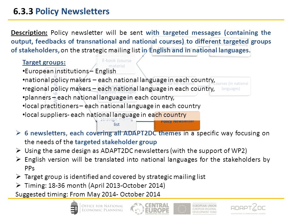Description: Policy newsletter will be sent with targeted messages (containing the output, feedbacks of transnational and national courses) to different targeted groups of stakeholders, on the strategic mailing list in English and in national languages.
