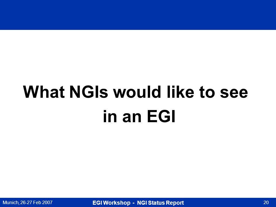 Munich, 26-27 Feb 2007 EGI Workshop - NGI Status Report 20 What NGIs would like to see in an EGI
