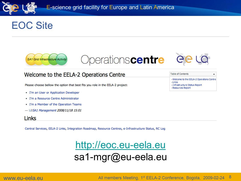 E-science grid facility for Europe and Latin America www.eu-eela.eu All members Meeting, 1 st EELA-2 Conference, Bogota, 2009-02-24 8 EOC Site http://eoc.eu-eela.eu sa1-mgr@eu-eela.eu
