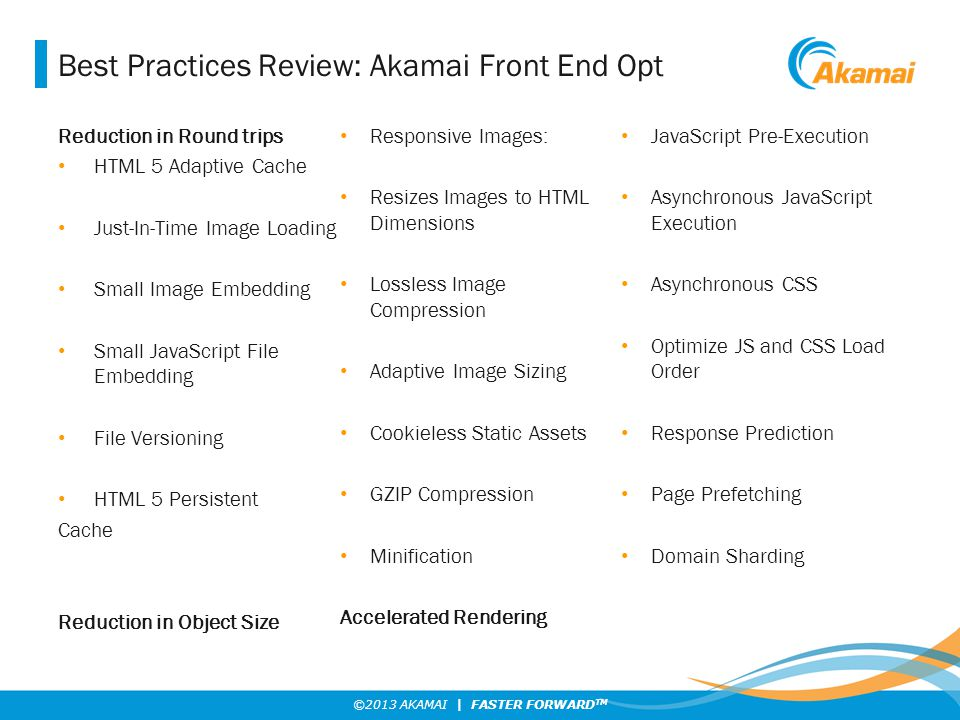 ©2013 AKAMAI | FASTER FORWARD TM Best Practices Review: Akamai Front End Opt Reduction in Round trips HTML 5 Adaptive Cache Just-In-Time Image Loading