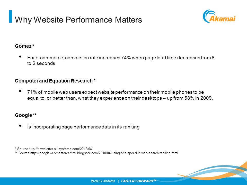 ©2013 AKAMAI | FASTER FORWARD TM Why Website Performance Matters Gomez * For e-commerce, conversion rate increases 74% when page load time decreases from 8 to 2 seconds Computer and Equation Research * 71% of mobile web users expect website performance on their mobile phones to be equal to, or better than, what they experience on their desktops -- up from 58% in 2009.