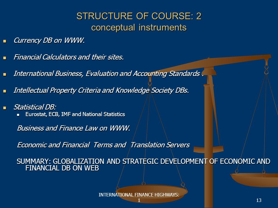 INTERNATIONAL FINANCE HIGHWAYS: 113 STRUCTURE OF COURSE: 2 conceptual instruments Currency DB on WWW.