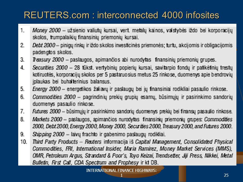 INTERNATIONAL FINANCE HIGHWAYS: 125 REUTERS.com : interconnected 4000 infosites