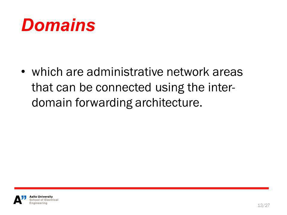 Domains 13/27 which are administrative network areas that can be connected using the inter- domain forwarding architecture.