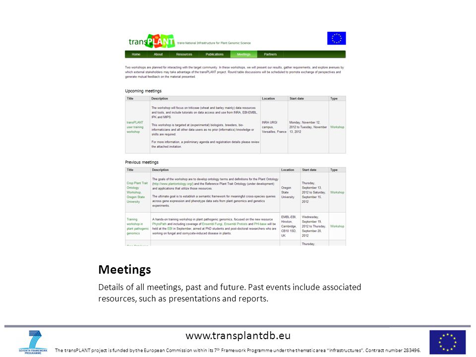 www.transplantdb.eu The transPLANT project is funded by the European Commission within its 7 th Framework Programme under the thematic area Infrastructures .