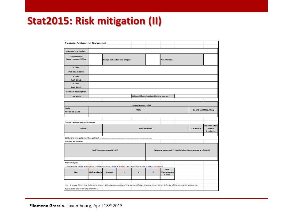 Stat2015: Risk mitigation (II) Filomena Grassia. Luxembourg, April 18 th 2013