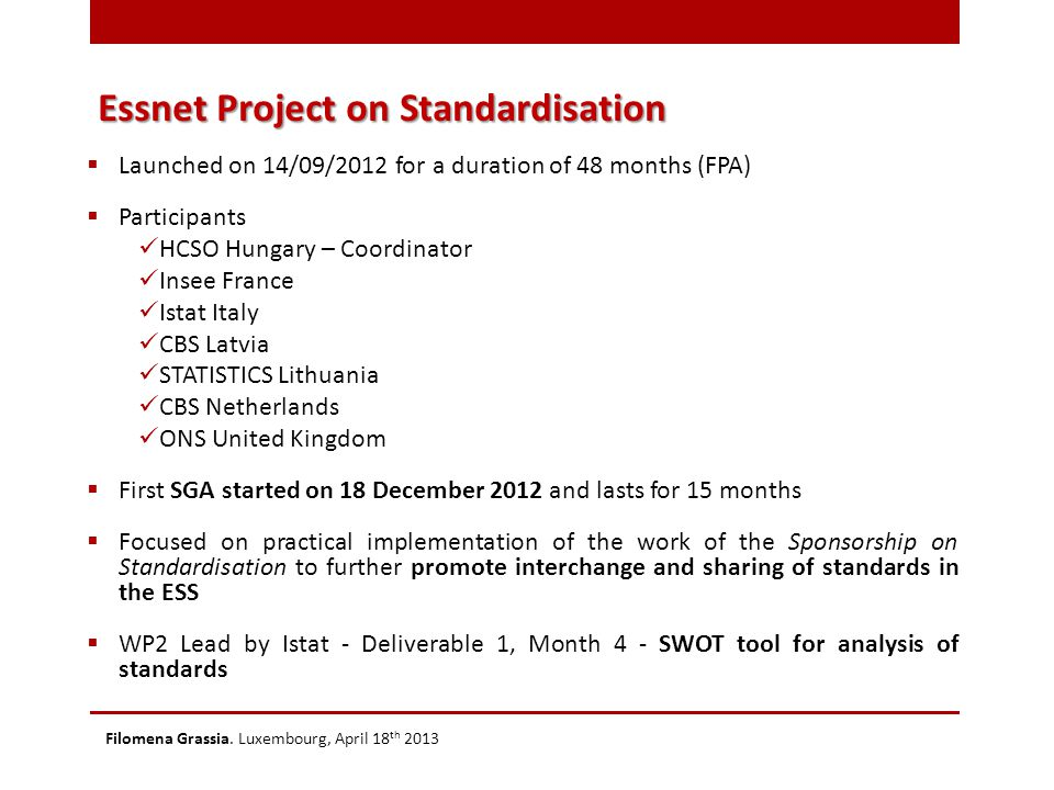 Essnet Project on Standardisation Filomena Grassia. Luxembourg, April 18 th 2013  Launched on 14/09/2012 for a duration of 48 months (FPA)  Particip