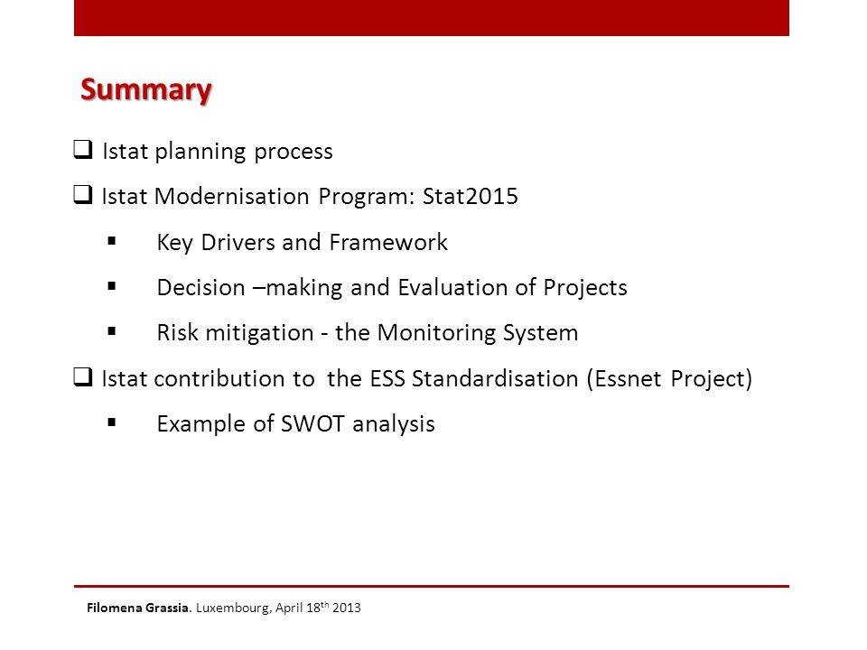Summary Filomena Grassia. Luxembourg, April 18 th 2013  Istat planning process  Istat Modernisation Program: Stat2015  Key Drivers and Framework 