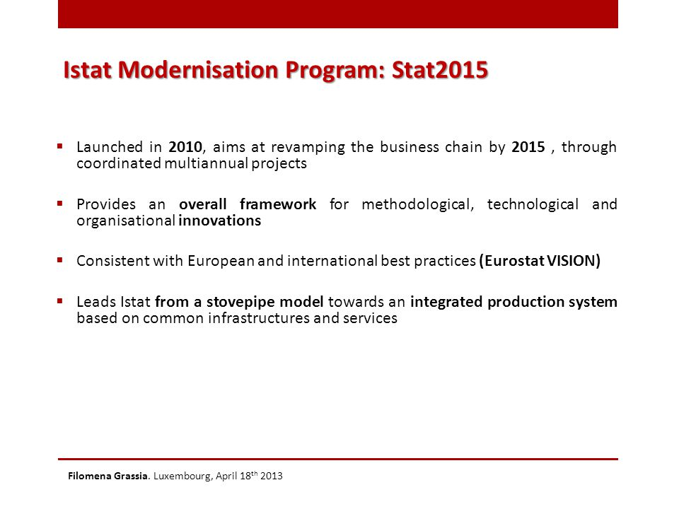Stat2015: Key Drivers  Standardisation and industrialisation of the statistical business chain  Implementation of re-usable infrastructure to support the National Statistical System  Adoption of a metadata-driven system to help extract signal out of noise  Development of client-oriented tools to enhance value creation Filomena Grassia.