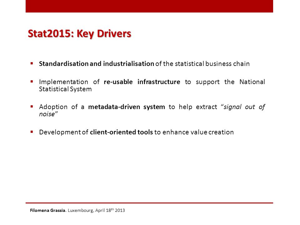 Stat2015: Key Drivers  Standardisation and industrialisation of the statistical business chain  Implementation of re-usable infrastructure to suppor