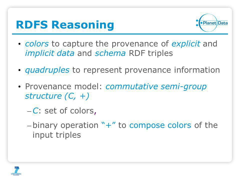 RDFS Reasoning colors to capture the provenance of explicit and implicit data and schema RDF triples quadruples to represent provenance information Provenance model: commutative semi-group structure (C, +) – C: set of colors, – binary operation + to compose colors of the input triples