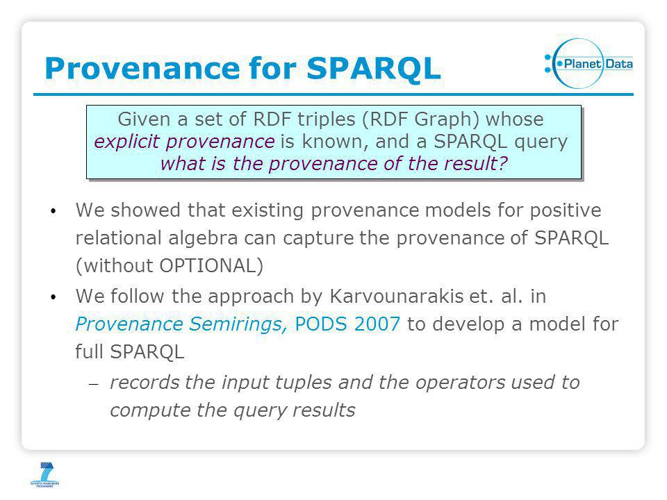 Provenance for SPARQL We showed that existing provenance models for positive relational algebra can capture the provenance of SPARQL (without OPTIONAL
