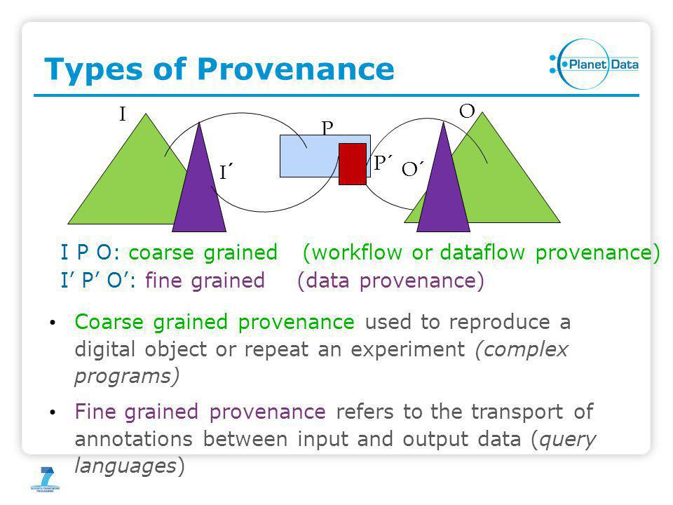Provenance for SPARQL We showed that existing provenance models for positive relational algebra can capture the provenance of SPARQL (without OPTIONAL) We follow the approach by Karvounarakis et.