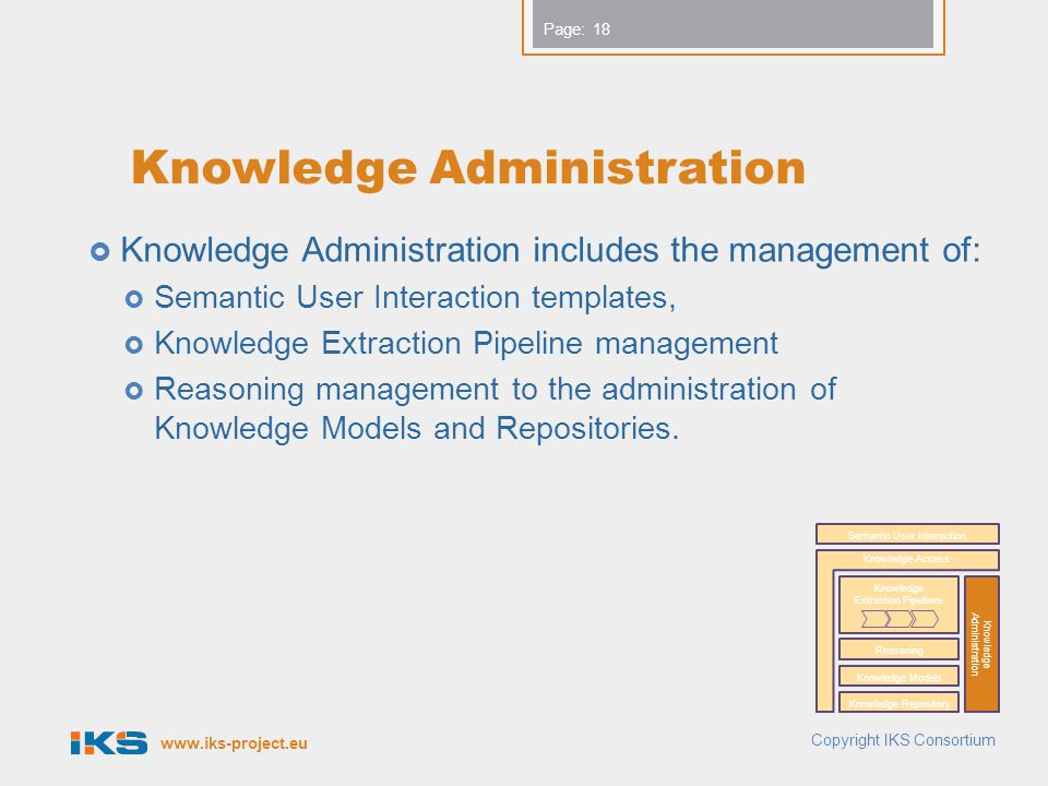 www.iks-project.eu Page: Knowledge Administration  Knowledge Administration includes the management of:  Semantic User Interaction templates,  Knowledge Extraction Pipeline management  Reasoning management to the administration of Knowledge Models and Repositories.