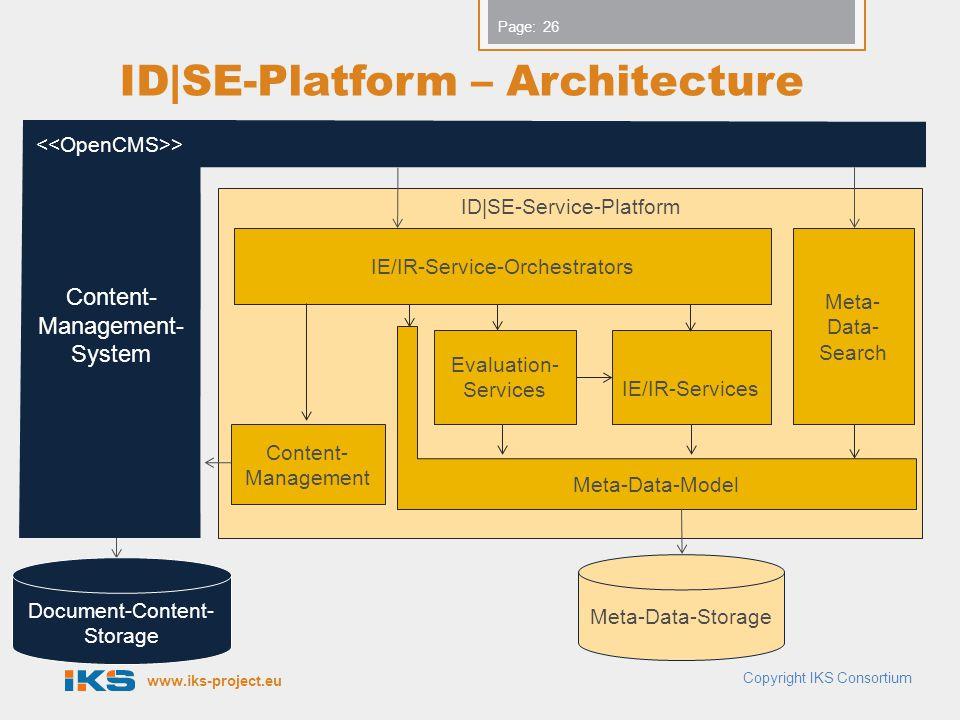 www.iks-project.eu Page: ID|SE-Platform – Architecture Copyright IKS Consortium 26 Document-Content- Storage ID|SE-Service-Platform IE/IR-Service-Orch