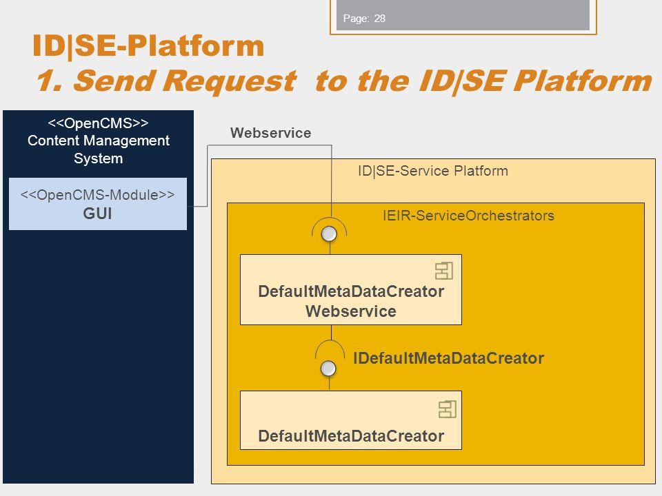 www.iks-project.eu Page: ID|SE-Platform 1. Send Request to the ID|SE Platform Copyright IKS Consortium 28 > Content Management System ID|SE-Service Pl
