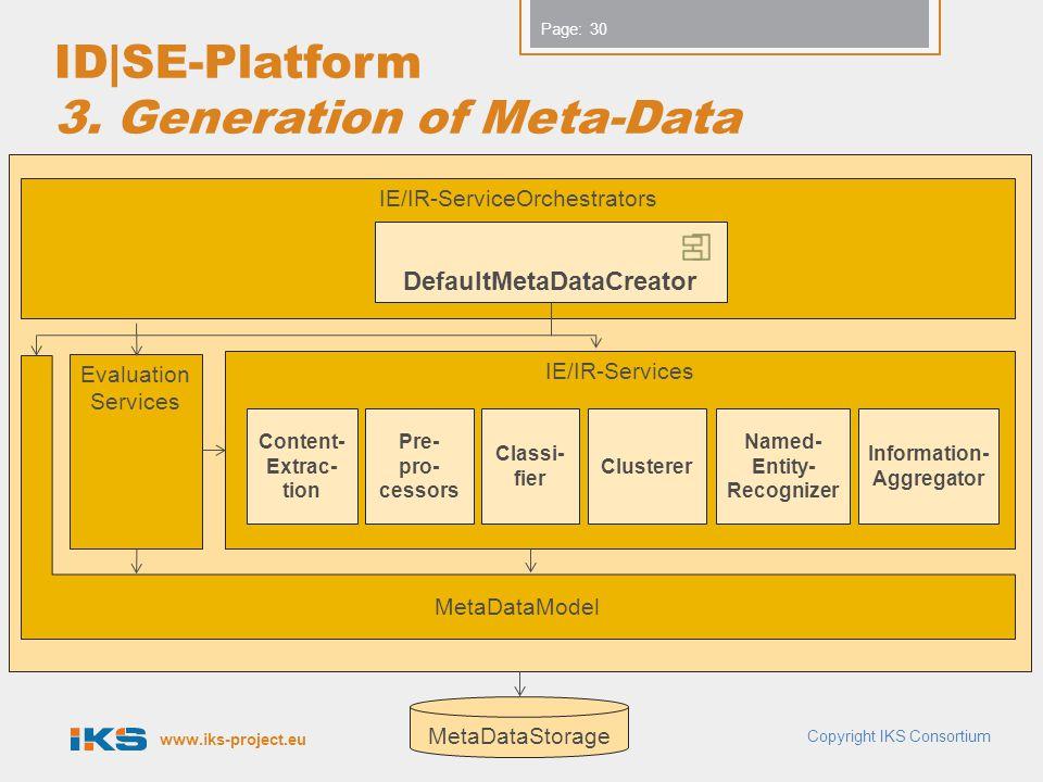 www.iks-project.eu Page: ID|SE-Platform 3. Generation of Meta-Data Copyright IKS Consortium 30 IE/IR-Services Evaluation Services MetaDataStorage Meta