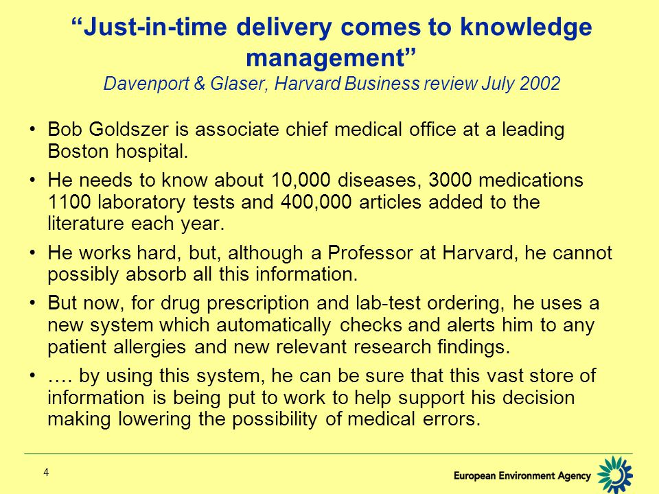 4 Just-in-time delivery comes to knowledge management Davenport & Glaser, Harvard Business review July 2002 Bob Goldszer is associate chief medical office at a leading Boston hospital.