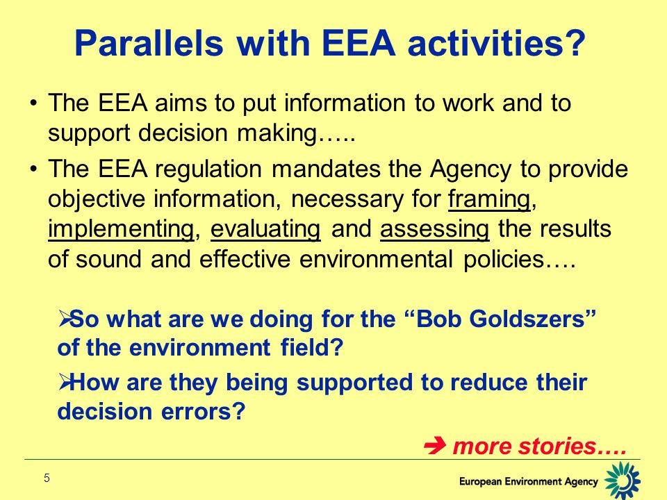 5 Parallels with EEA activities.