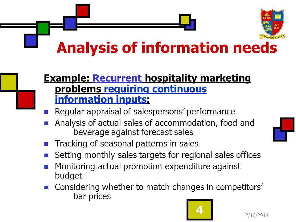 12/10/2014 5 Analysis of information needs Occasional hospitality marketing problems requiring ad hoc information inputs: Whether to co-operate with adjacent hotels in joint promotion Whether to sponsor a sport events Whether to launch a new food and beverage format Whether to close a floor during winter To discover the reasons for poor sales performance from a particular office To see if profitable opportunities exist in franchising a fast-food format