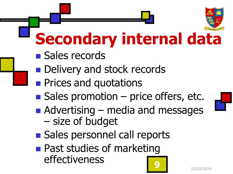 12/10/2014 10 Secondary external data Internet Statistics Company reports Catalogues, brochures Advertising (TV, radio, newspapers, etc.) Ready-made surveys Official reports Other publications Intelligence sources