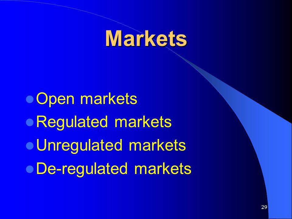 29 Markets Open markets Regulated markets Unregulated markets De-regulated markets