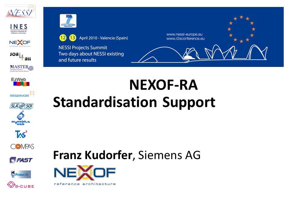 NEXOF-RA Standardisation Support Franz Kudorfer, Siemens AG NEXOF-RA
