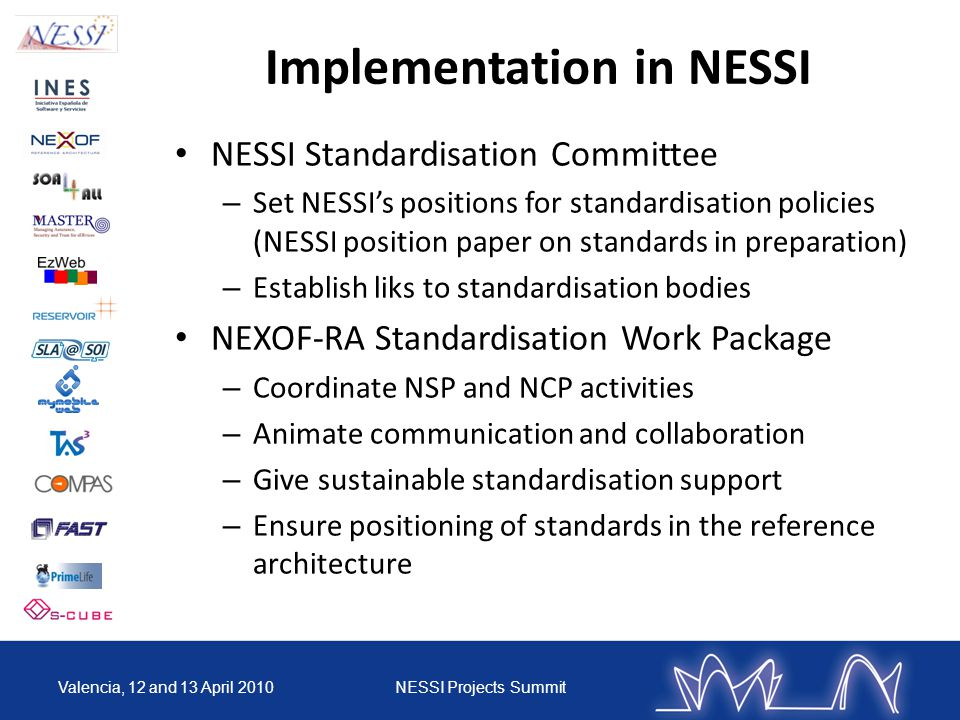 Implementation in NESSI NESSI Standardisation Committee – Set NESSI's positions for standardisation policies (NESSI position paper on standards in preparation) – Establish liks to standardisation bodies NEXOF-RA Standardisation Work Package – Coordinate NSP and NCP activities – Animate communication and collaboration – Give sustainable standardisation support – Ensure positioning of standards in the reference architecture Valencia, 12 and 13 April 2010NESSI Projects Summit