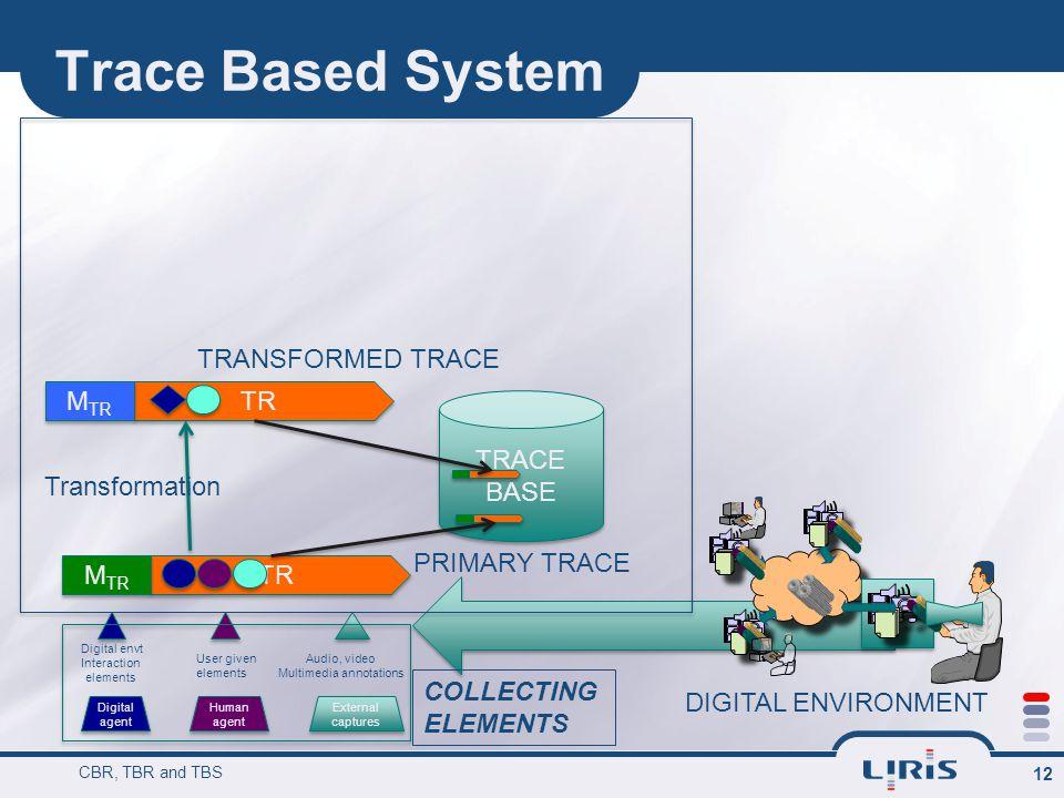 Trace Based System CBR, TBR and TBS 12 Digital agent Human agent External captures External captures Digital envt Interaction elements User given elem