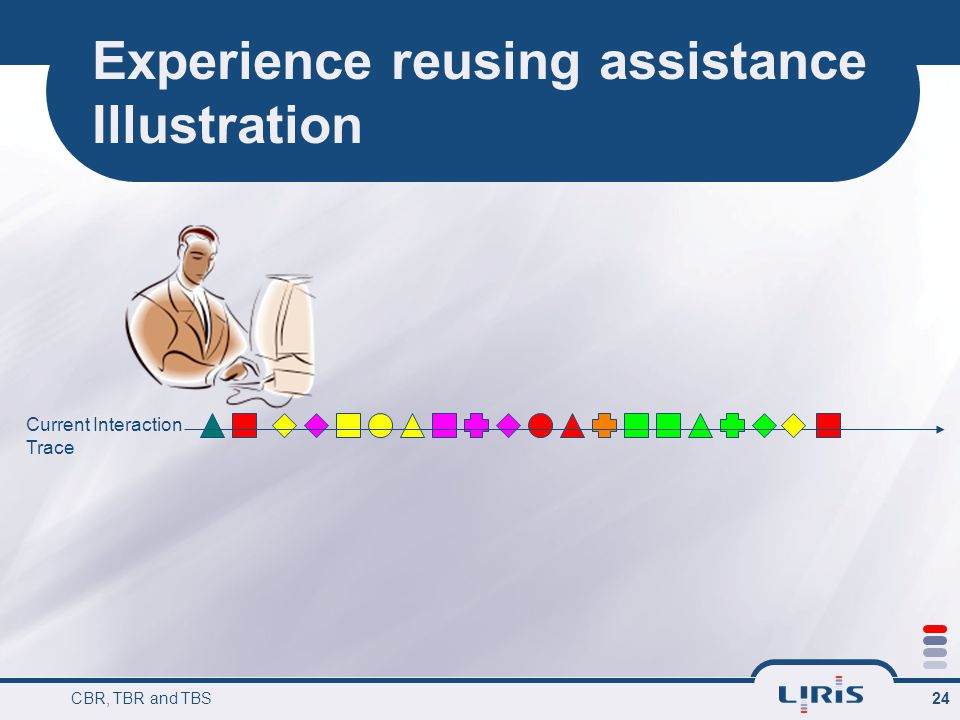 CBR, TBR and TBS 24 Experience reusing assistance Illustration Current Interaction Trace