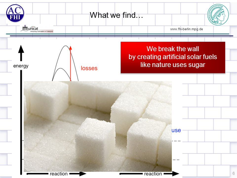 www.fhi-berlin.mpg.de What we find… 6 We break the wall by creating artificial solar fuels like nature uses sugar