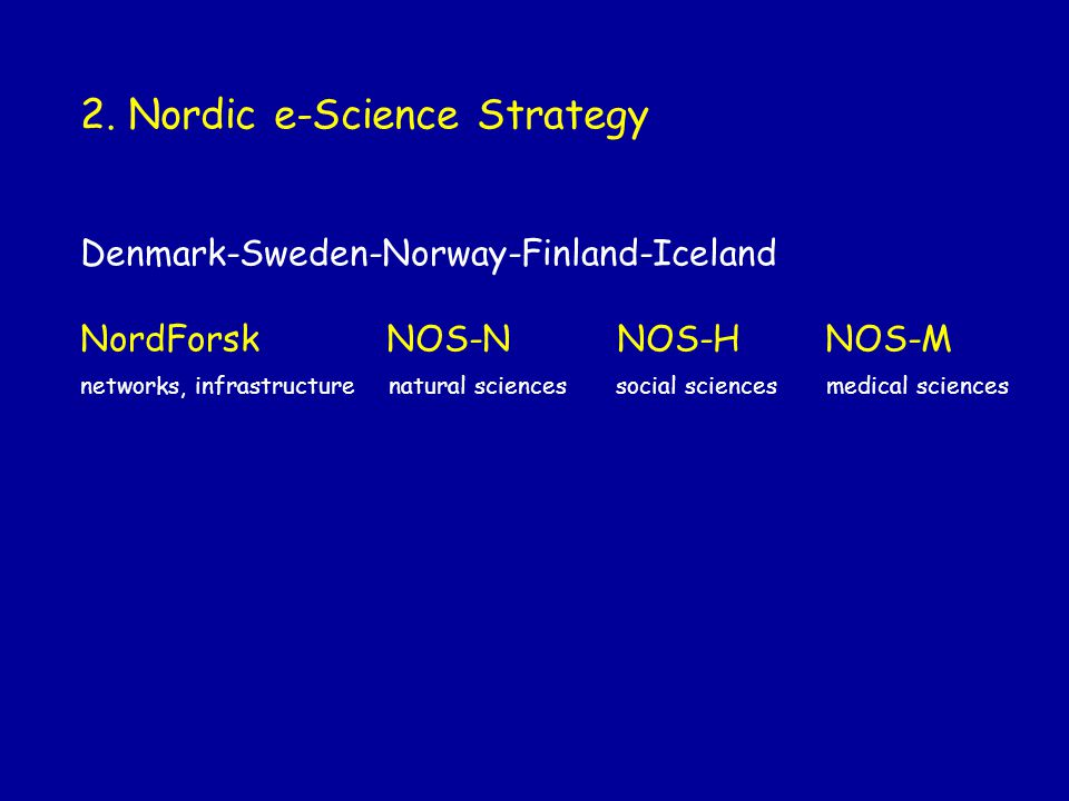 2. Nordic e-Science Strategy Denmark-Sweden-Norway-Finland-Iceland NordForsk NOS-N NOS-H NOS-M networks, infrastructure natural sciences social scienc