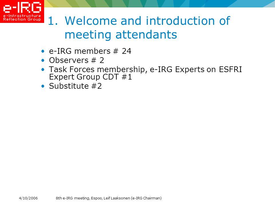 8th e-IRG meeting, Espoo, Leif Laaksonen (e-IRG Chairman)4/10/2006 12.Presentation of Research on National Grid Initiatives - Fotis Karayannis