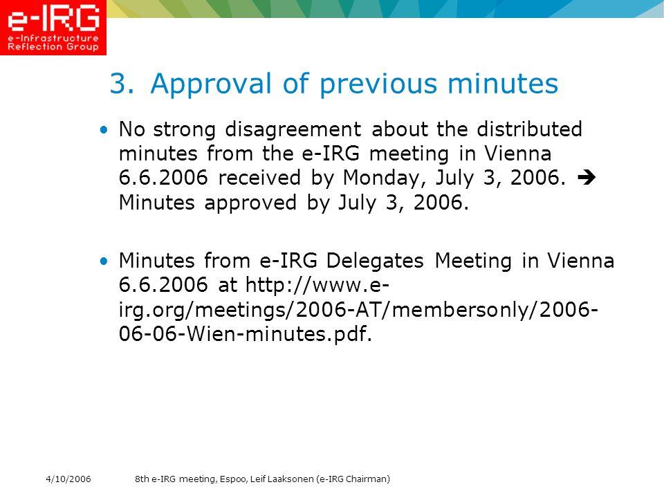 8th e-IRG meeting, Espoo, Leif Laaksonen (e-IRG Chairman)4/10/2006 14. AOB