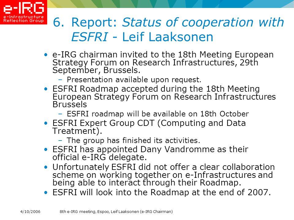 8th e-IRG meeting, Espoo, Leif Laaksonen (e-IRG Chairman)4/10/2006 7.e-IRG Roadmap process - Leif Laaksonen Appointment Chief Roadmap Editor –Michiel Leenaars is suggested as the chief Roadmap Editor e-IRG Roadmap Process