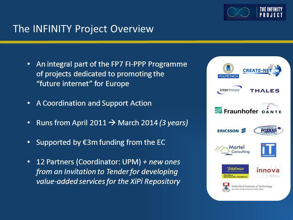 The INFINITY Project Overview An integral part of the FP7 FI-PPP Programme of projects dedicated to promoting the future internet for Europe A Coordination and Support Action Runs from April 2011  March 2014 (3 years) Supported by €3m funding from the EC 12 Partners (Coordinator: UPM) + new ones from an Invitation to Tender for developing value-added services for the XiPi Repository