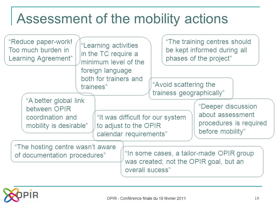"19 Assessment of the mobility actions OPIR - Conférence finale du 18 février 2011 ""A better global link between OPIR coordination and mobility is desi"