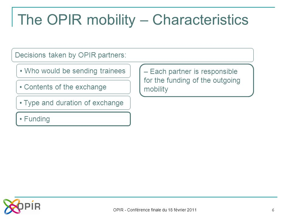 OPIR - Conférence finale du 18 février 2011 6 The OPIR mobility – Characteristics Decisions taken by OPIR partners: Who would be sending trainees Contents of the exchange Type and duration of exchange Funding – Each partner is responsible for the funding of the outgoing mobility