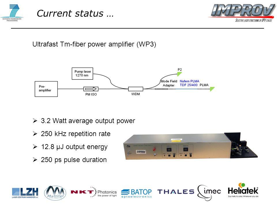 Ultrafast Tm-fiber power amplifier (WP3)  3.2 Watt average output power  250 kHz repetition rate  12.8 µJ output energy  250 ps pulse duration